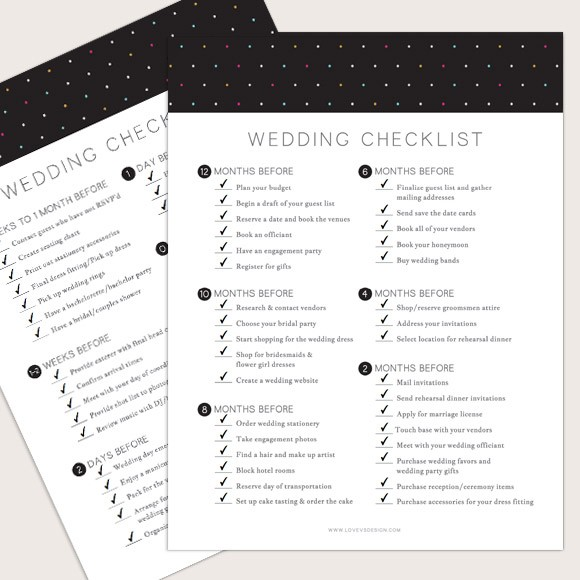 To help keep you organized in your wedding planning, we've created a simple wedding planning checklist of important tasks you will need to accomplish each month leading up to the wedding day. Things like when to plan your wedding budget, decide on your wedding venue, choose your bridal party, order wedding invitations and pick your wedding rings. While it may all see overwhelming, fear not it can be done with a little organization! We hope this wedding planning checklist helps keep you on top of your to do's before you say I do!