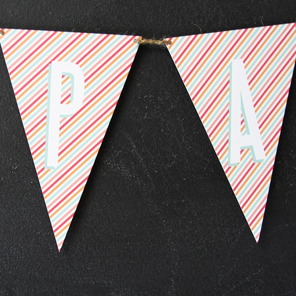 Bunting Flags are a fun decoration for any party or celebration, such as birthday parties, graduation parties, wedding related parties and baby showers. Available in the entire alphabet, you can create whichever word you want, for example: HAPPY BIRTHDAY, WELCOME, PARTY, BABY SHOWER, etc. Creating your own bunting flags is easy:1. Print on 8.5 x 11 Cardstock  2. Cut along the edge using scissors or X-Acto knife3. Punch a hole on both corners of the flag. 4. Thread ribbon, twin or yarn through the holes.