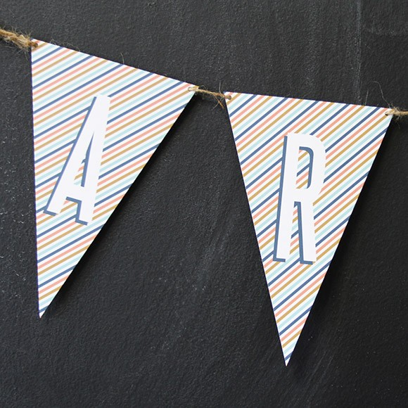 Bunting Flags are a fun decoration for any party or celebration, such as birthday parties, graduation parties, wedding related parties and baby showers. Available in the entire alphabet, you can create whichever word you want, for example: HAPPY BIRTHDAY, WELCOME, PARTY, BABY SHOWER, etc. Creating your own bunting flags is easy:1. Print on 8.5 x 11 Cardstock  2. Cut along the edge using scissors or X-Acto knife    3. Punch a hole on both corners of the flag. 4. Thread ribbon, twin or yarn through the holes.