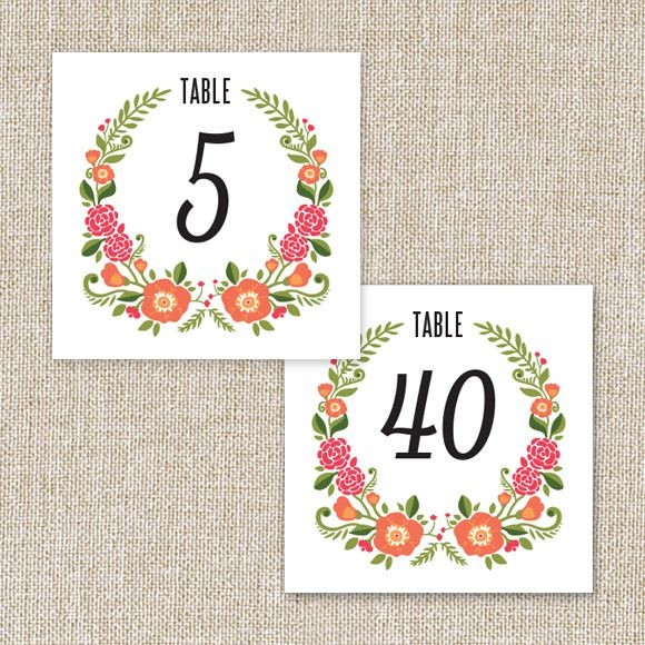 Floral Wreath Table Numbers