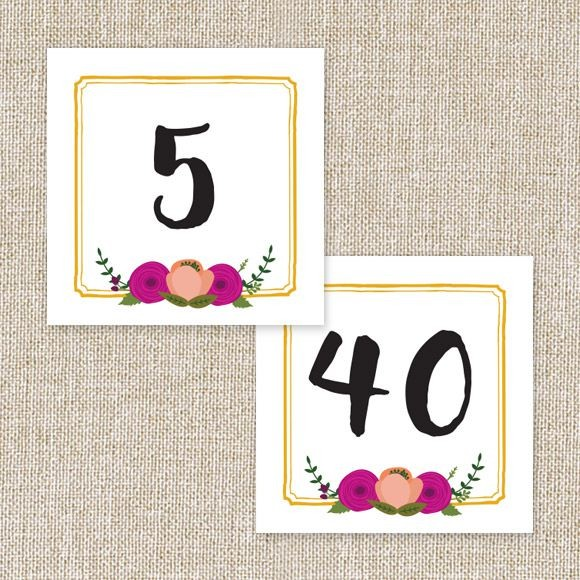 Bold Blooms Table Numbers