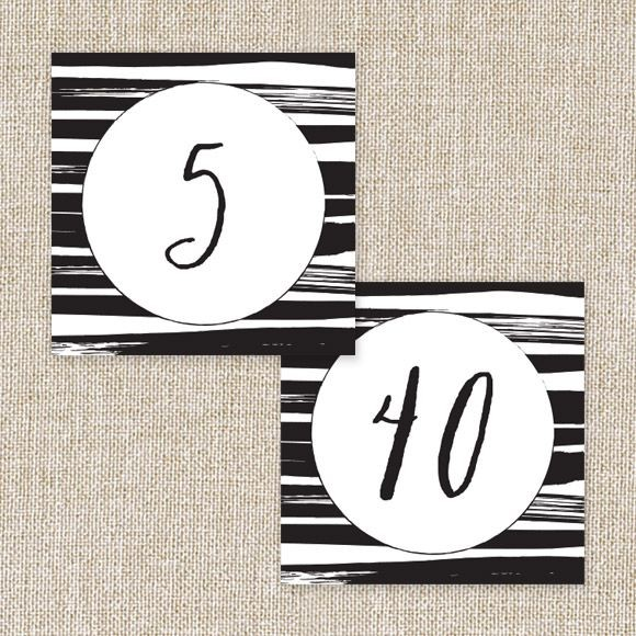 Black Stripes Table Numbers