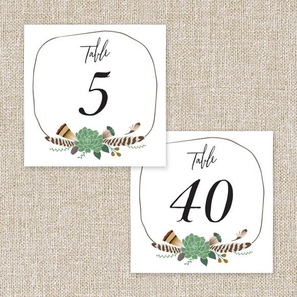 Bohemian Floral Table Numbers