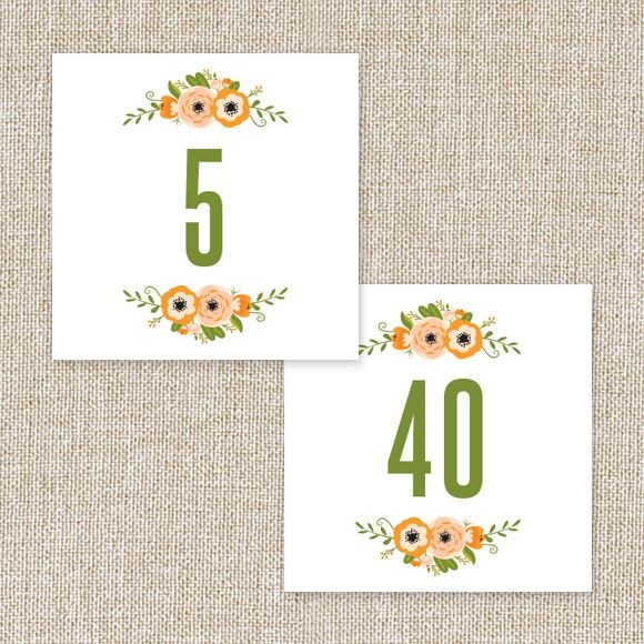 Botanical Love Table Numbers