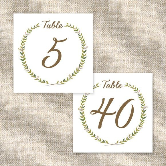 Rustic Wreath Table Numbers