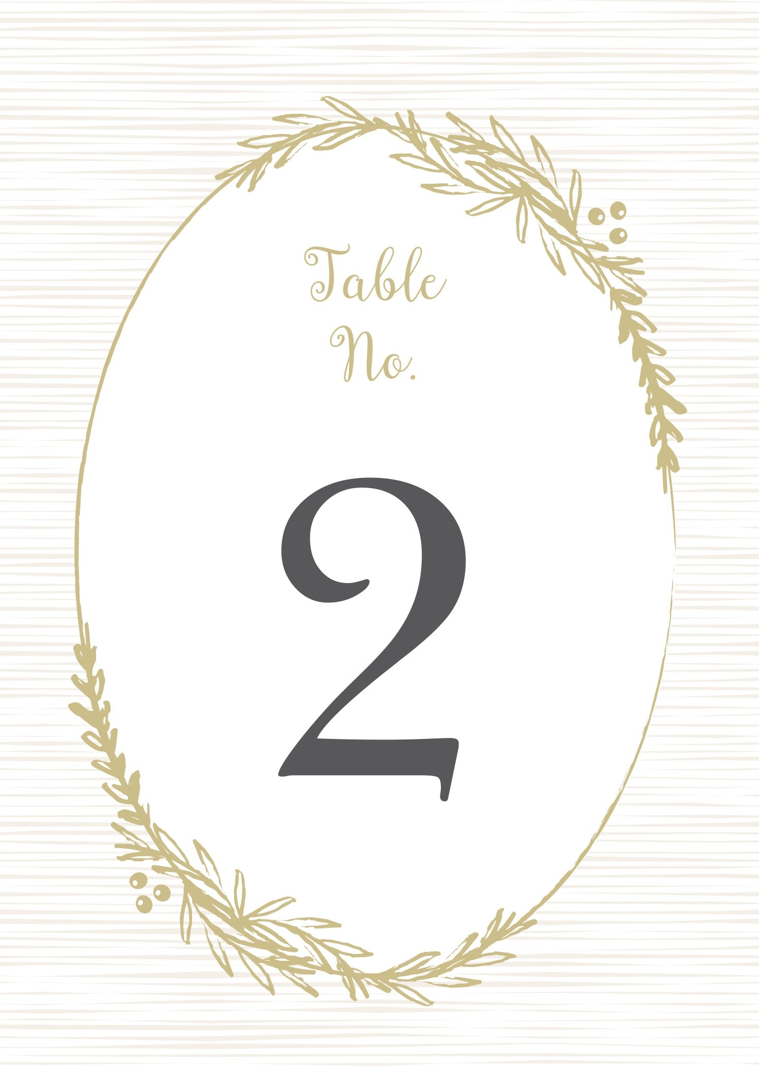 Delicate Laurel Table Numbers Printable