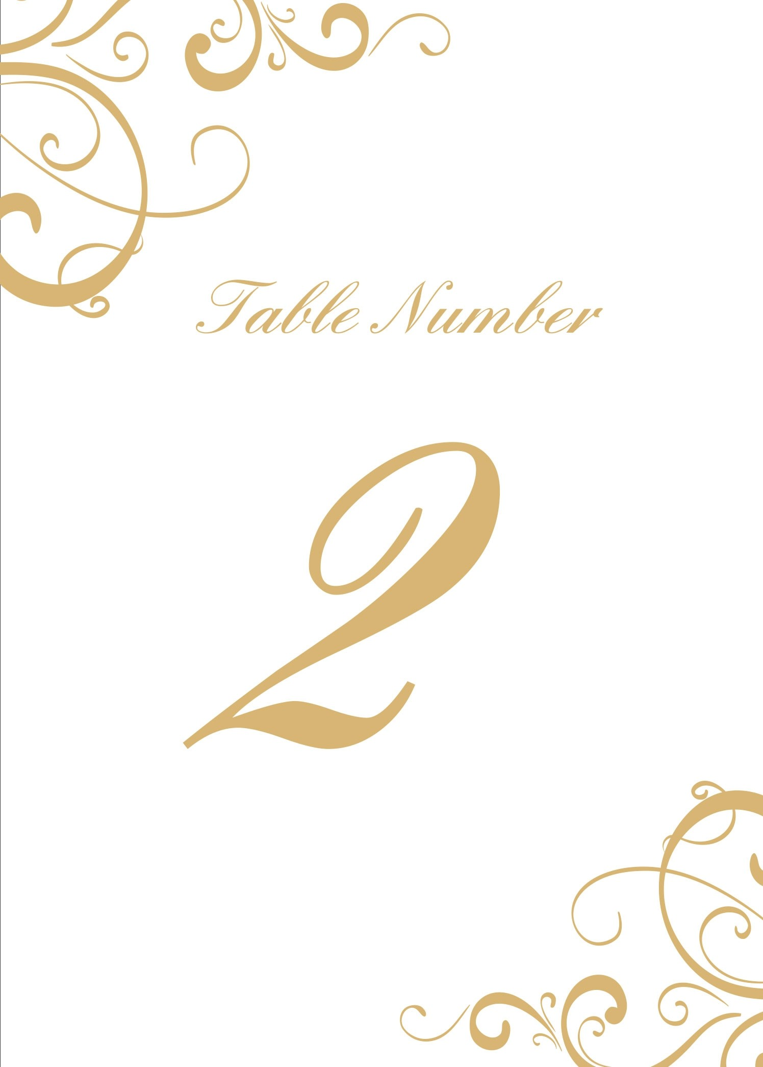 Simple Swirls Table Numbers Printable
