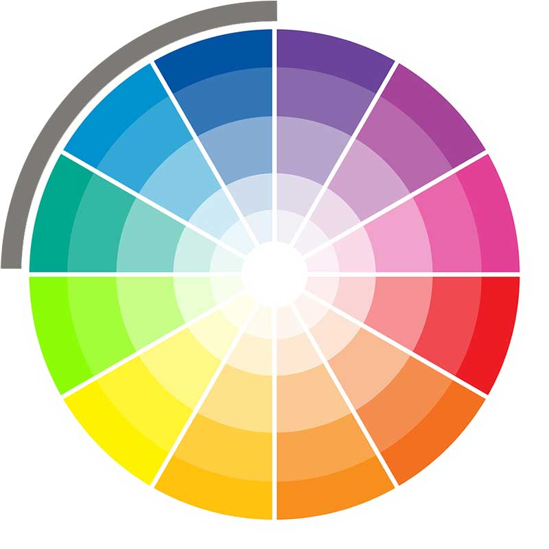 Analogous wedding color wheel