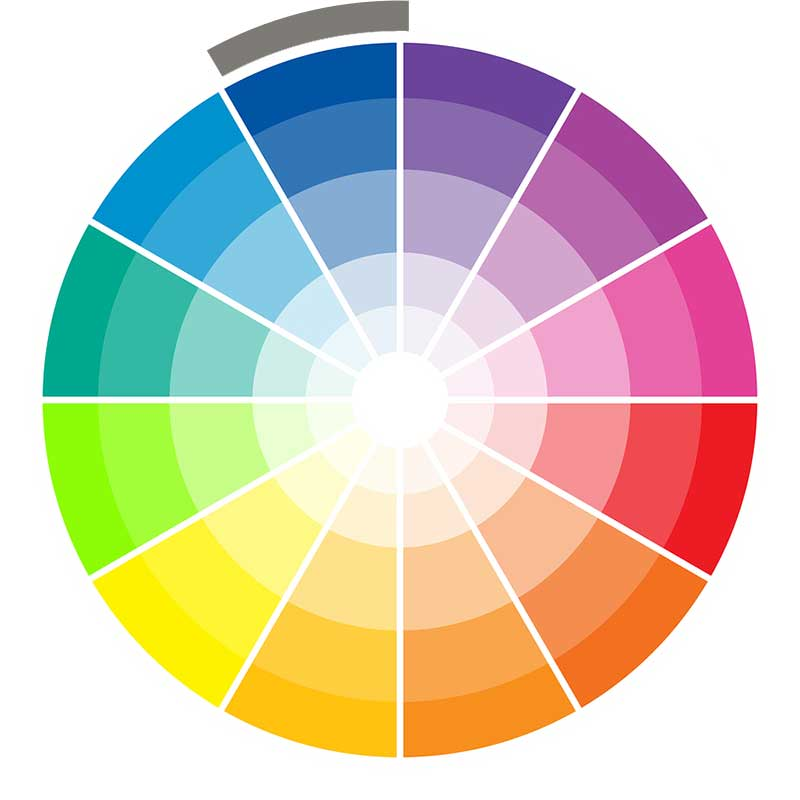 Monochromatic wedding color wheel