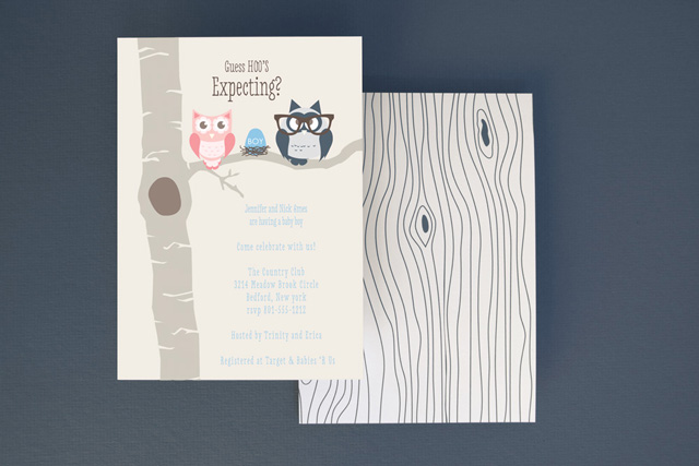Owl Parents Boy Baby Shower Invitation