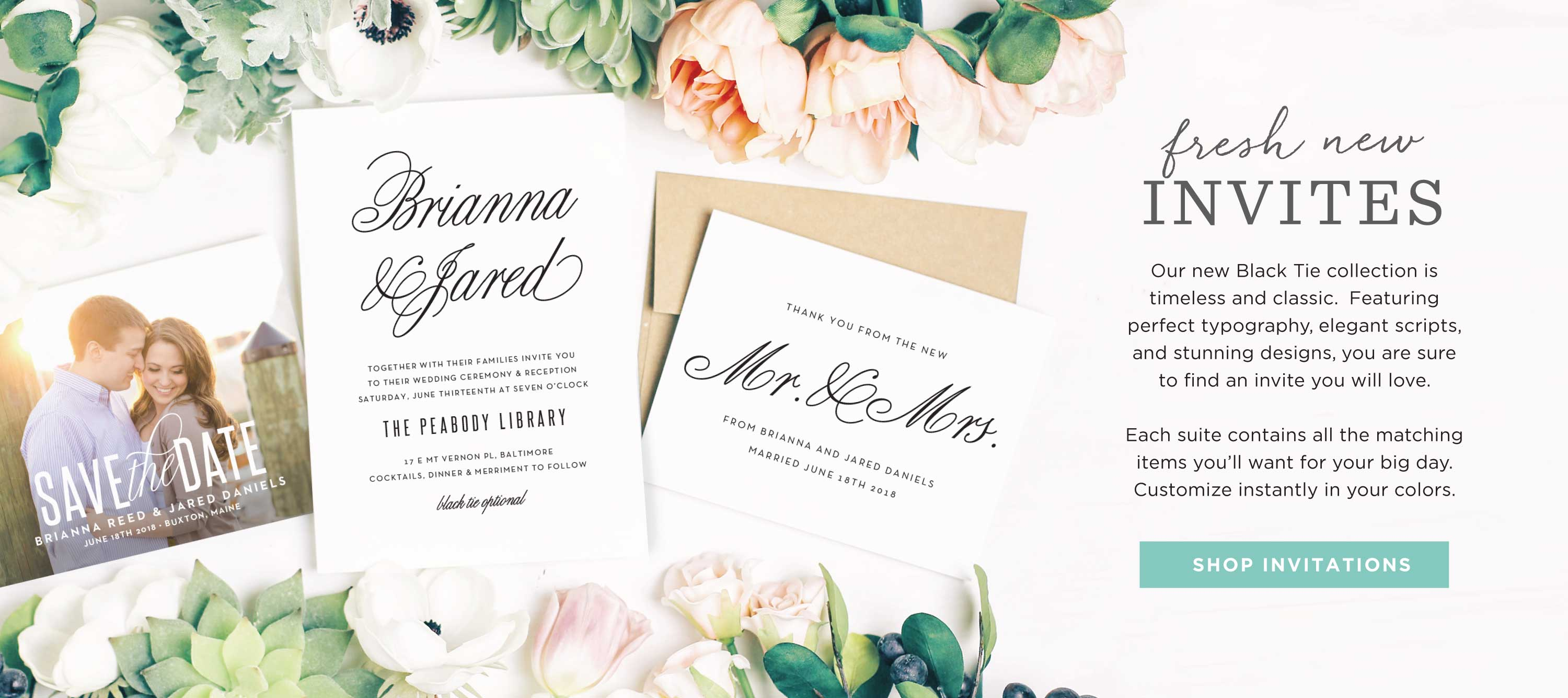 Timeless and Classic Wedding Invitations by Basic Invite