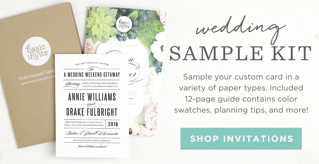 Invitations announcements and photo cards basic invite truly custom invitation company wedding sample kit stopboris Images
