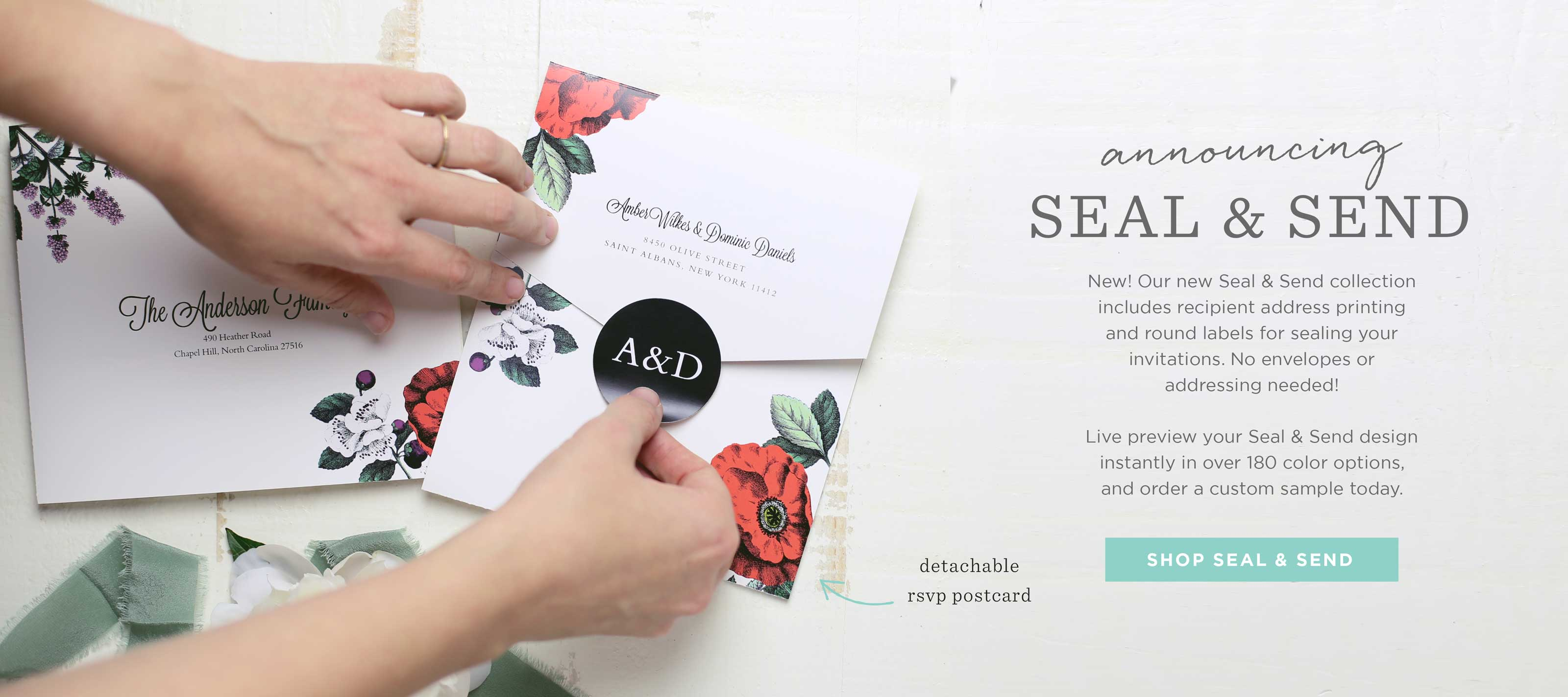 Seal and Send Wedding Invitations - All-in-one invitations complete with address and tear off RSVP