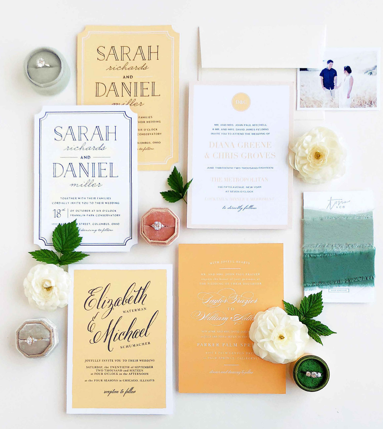 Go ahead, pick a color. Any color. With over 180 custom color options, including 10 shades of yellow, it's no wonder why they call us the Truly Custom Invitation Company.