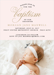 SCALLOPS AND SCRIPT GIRL BAPTISM INVITATIONS