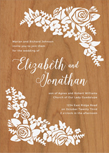 corner wreath wood wedding invitations