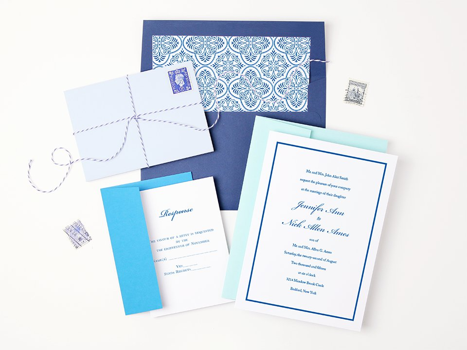 Blue Peel and Seal Invitation Envelopes