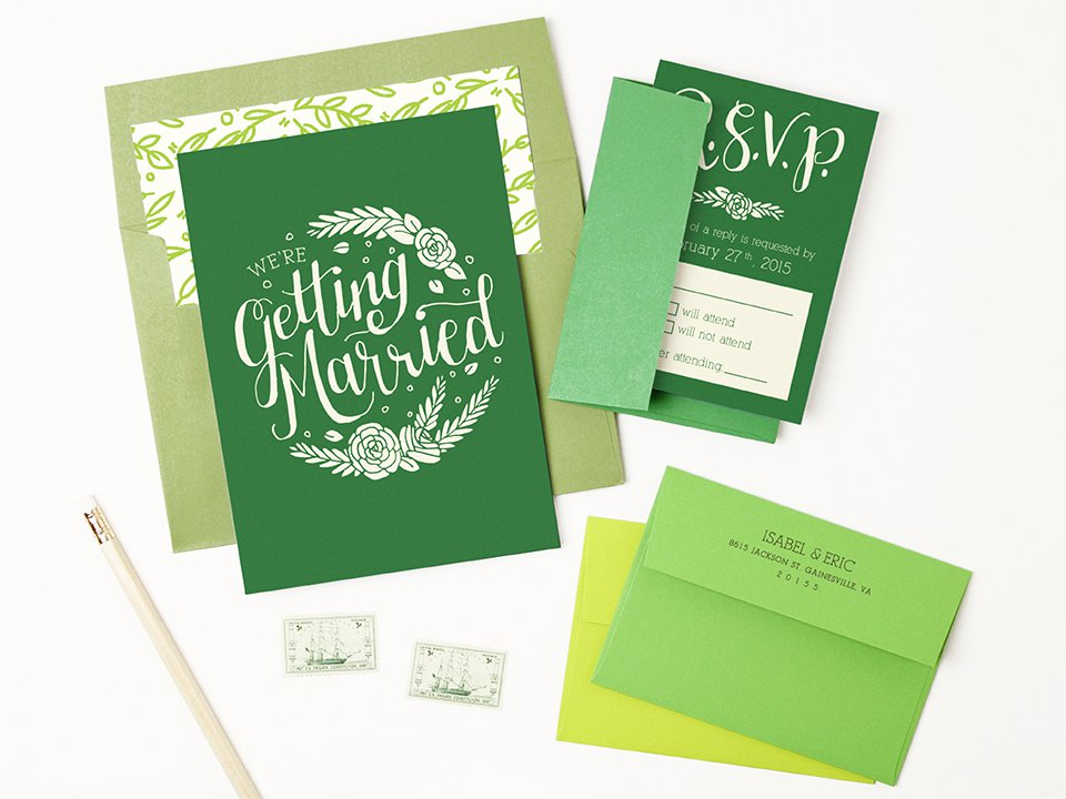 Green Peel and Seal Invitation Envelopes
