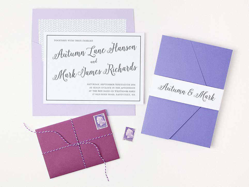 Purple Peel and Seal Invitation Envelopes