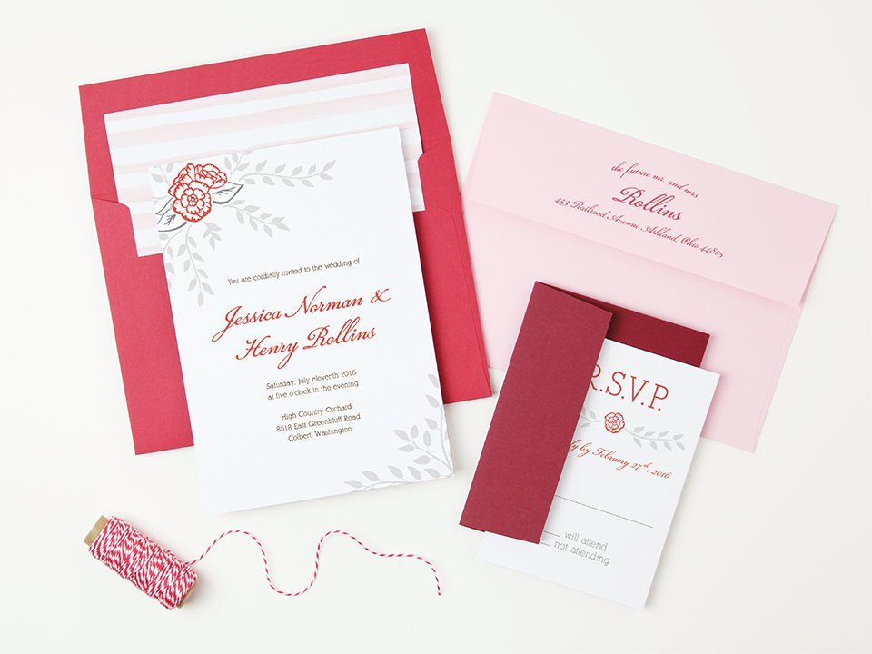 Red Peel and Seal Invitation Envelopes