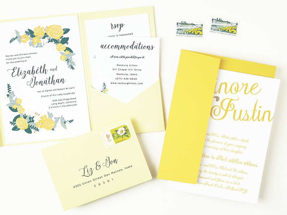 Yellow Peel and Seal Invitation Envelopes