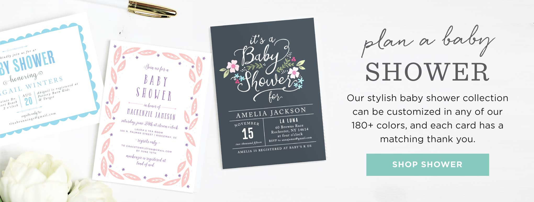 Baby Shower Cards for your Baby Boy or Baby Girl or Twin Shower