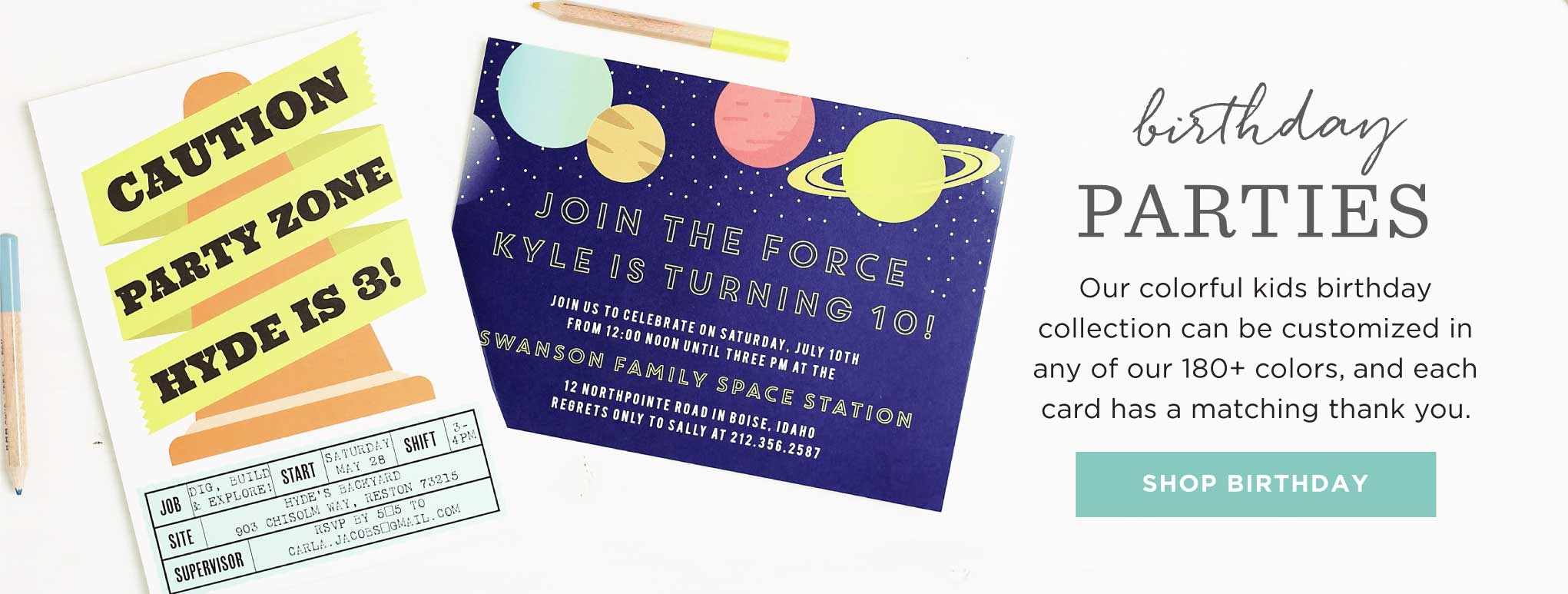 Birthday Party Invitations - 1 year, milestone, kids and more.