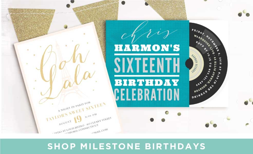 Shop Milestone Birthday Invitations