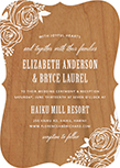 rustic flowers wood wedding invitations